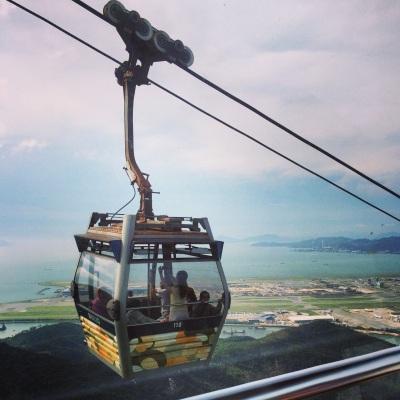 Ngong Ping cablecar over Hong Kong International Airport
